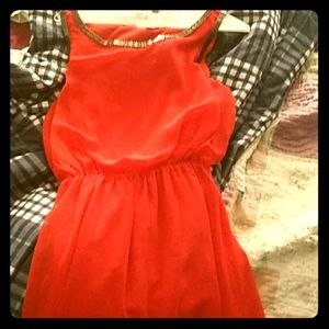 Orange red beautiful evening gown